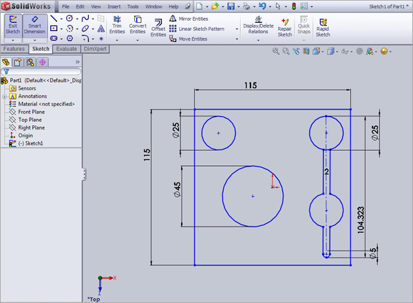 SolidWorks-CAD-Sketch-Model-Plate-Design